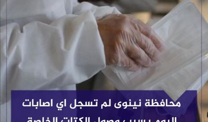 محافظة نينوى لم تسجل اي اصابات جديدة بفيروس كورونا اليوم بسبب وصول الكتات الخاصة بالفحص بوقت متاخر من ليلة امس