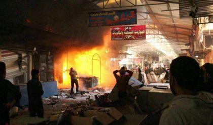 قصف بصواريخ الكاتيوشا على سوق النبي يونس